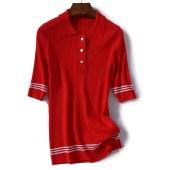 新款女装半开衫条纹中袖时尚潮流修身针织衫